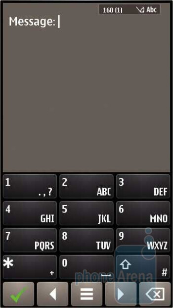 Messaging on the Nokia E7 with the portrait on-screen keyboard - Nokia E7 Review