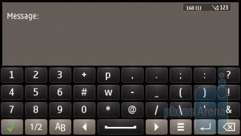 The on-screen keyboard of the Nokia E7 - Nokia E7 vs LG Optimus 2X vs Apple iPhone 4
