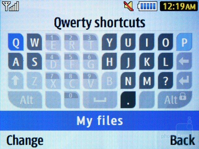 The shortcuts of the QWERTY keyboard - Samsung Ch@t 335 Preview