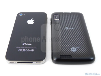 The Motorola ATRIX 4G (bottom, right) and the Apple iPhone 4 (top, left) - Motorola ATRIX 4G vs Apple iPhone 4