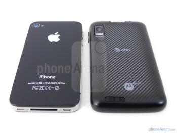 The Motorola ATRIX 4G (bottom, right) and the Apple iPhone 4 (top, left) - Motorola ATRIX 4G vs Apple iPhone 4