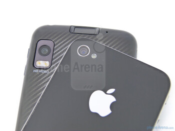 Back cameras - The Motorola ATRIX 4G (bottom, right) and the Apple iPhone 4 (top, left) - Motorola ATRIX 4G vs Apple iPhone 4