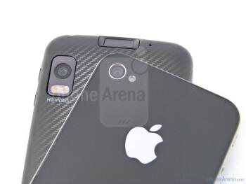 Back cameras - The Motorola ATRIX 4G (bottom, right) and the Apple iPhone 4 (top, left) - Motorola ATRIX 4G vs Apple iPhone 4