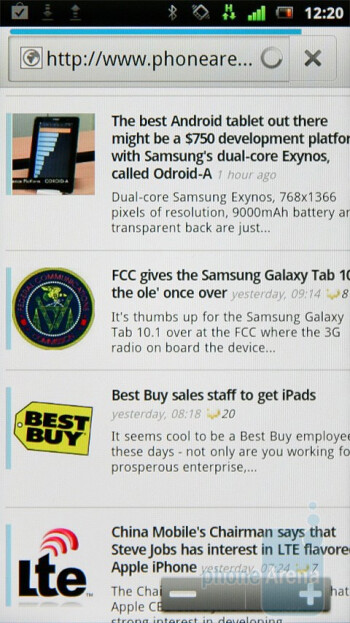 The stock Android browser is a capable tool - Sony Ericsson Xperia neo Preview