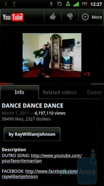 The YouTube client - Sony Ericsson Xperia neo Preview