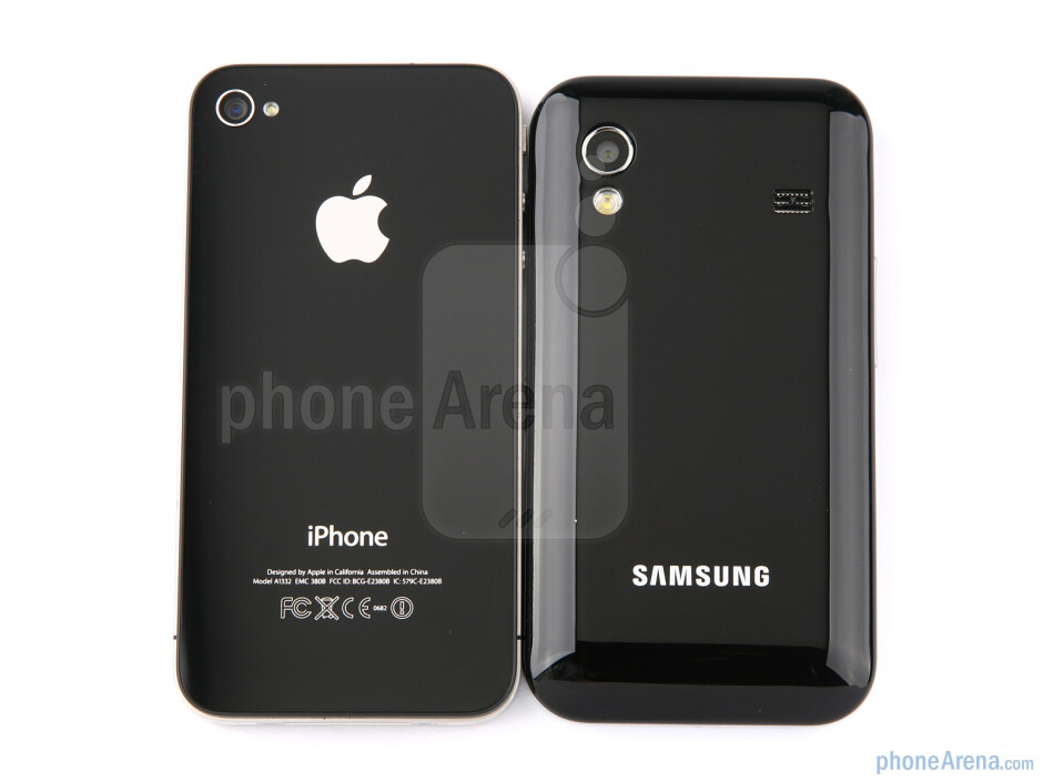 The Samsung Galaxy Ace next to the Apple iPhone 4 - Samsung Galaxy Ace Review