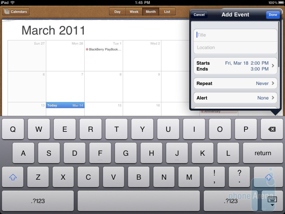 The Calendar of the Apple iPad 2 - HTC Jetstream vs Apple iPad 2