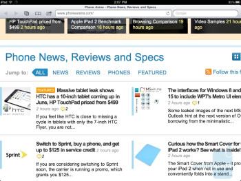 Safari browser on the iPad 2 - Samsung Galaxy Tab 10.1 vs Apple iPad 2