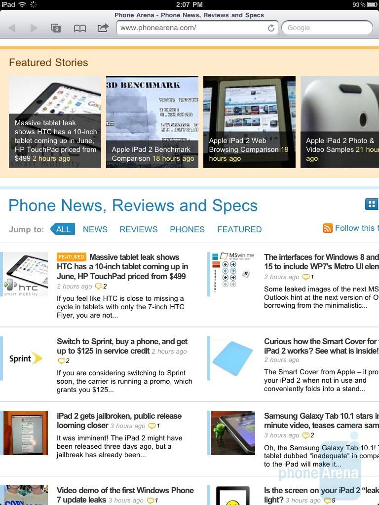 Safari browser of the Apple iPad 2 - HTC Jetstream vs Apple iPad 2