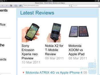 Safari browser on the iPad 2 - Samsung Galaxy Tab 10.1 vs Apple iPad 2