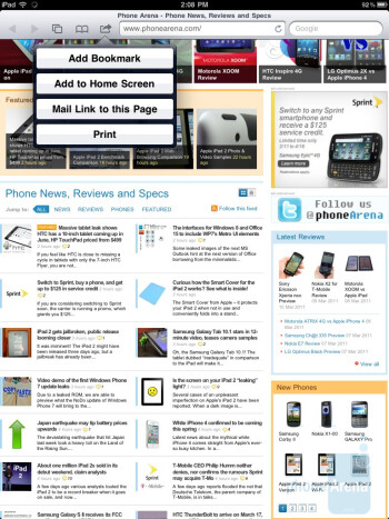Safari browser of the Apple iPad 2 - HP TouchPad vs Apple iPad 2