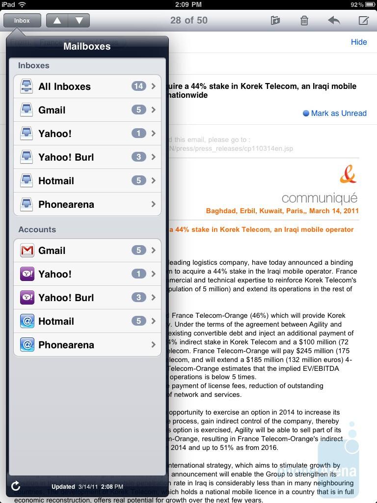 The e-mail app of the Apple iPad 2 - HTC Jetstream vs Apple iPad 2