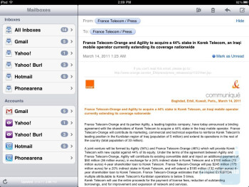 The e-mail app - Apple iPad 2 Review