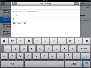 On-screen keyboard of the Apple iPad 2 - Samsung Galaxy Tab 10.1 vs Apple iPad 2