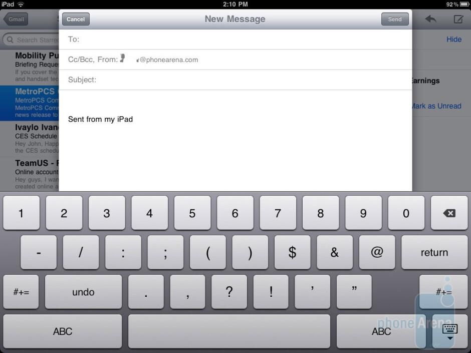 Keyboard layout of the Apple iPad 2 - HTC Jetstream vs Apple iPad 2