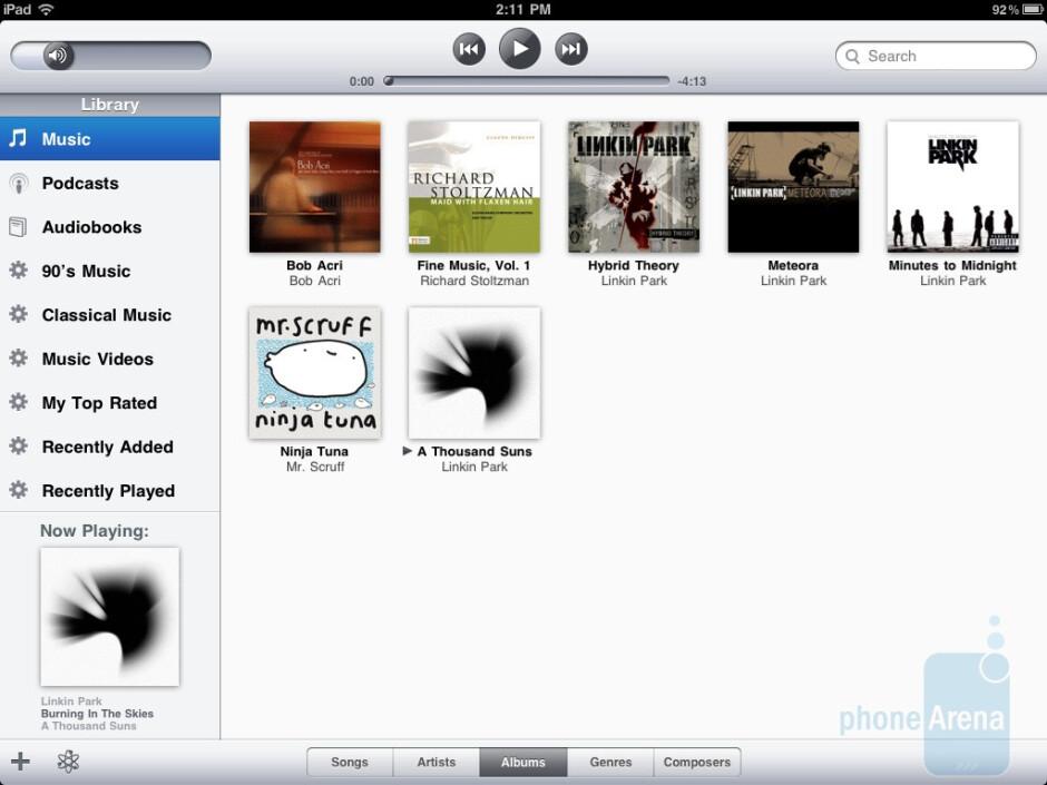 The music player of the Apple iPad 2 - HTC Jetstream vs Apple iPad 2