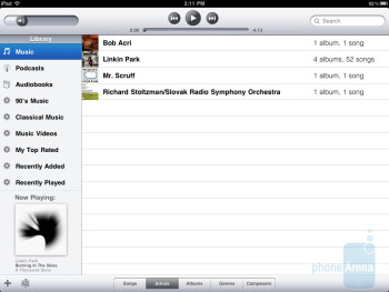 The music player of Apple iPad 2 - Samsung Galaxy Tab 10.1 vs Apple iPad 2