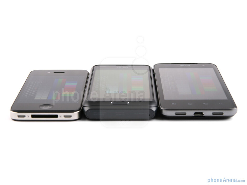 Displays and viewing angles of the Apple iPhone 4, the Nokia E7 and the LG Optimus 2X - Nokia E7 vs LG Optimus 2X vs Apple iPhone 4