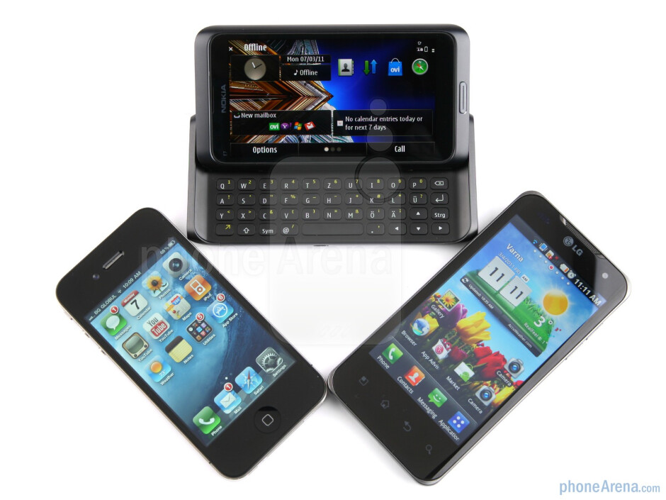 Of the three phones, only the Nokia E7 has a physical keyboard - Nokia E7 vs LG Optimus 2X vs Apple iPhone 4