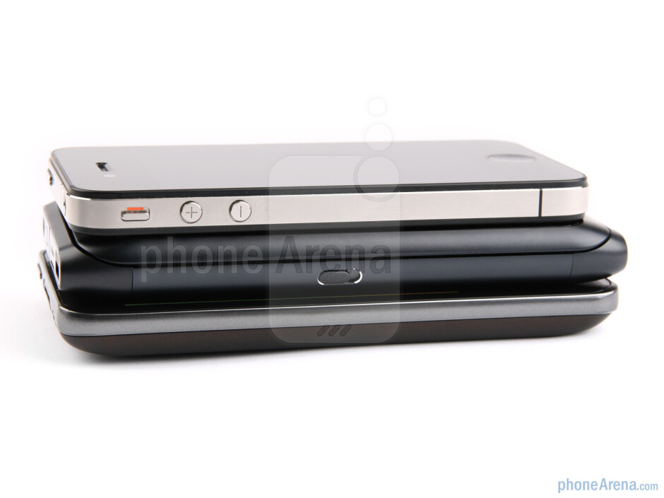 Left - The sides of the Apple iPhone 4 (top), the Nokia E7 (middle) and the LG Optimus 2X (bottom) - Nokia E7 vs LG Optimus 2X vs Apple iPhone 4