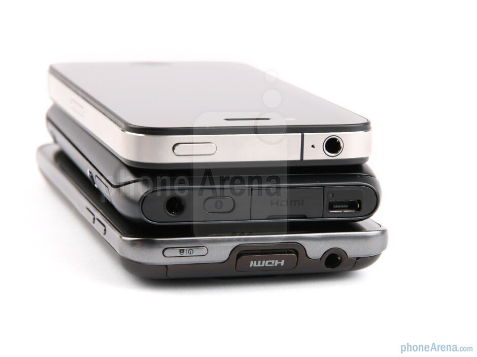 Top - The sides of the Apple iPhone 4 (top), the Nokia E7 (middle) and the LG Optimus 2X (bottom) - Nokia E7 vs LG Optimus 2X vs Apple iPhone 4