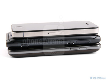 Right - The sides of the Apple iPhone 4 (top), the Nokia E7 (middle) and the LG Optimus 2X (bottom) - Nokia E7 vs LG Optimus 2X vs Apple iPhone 4
