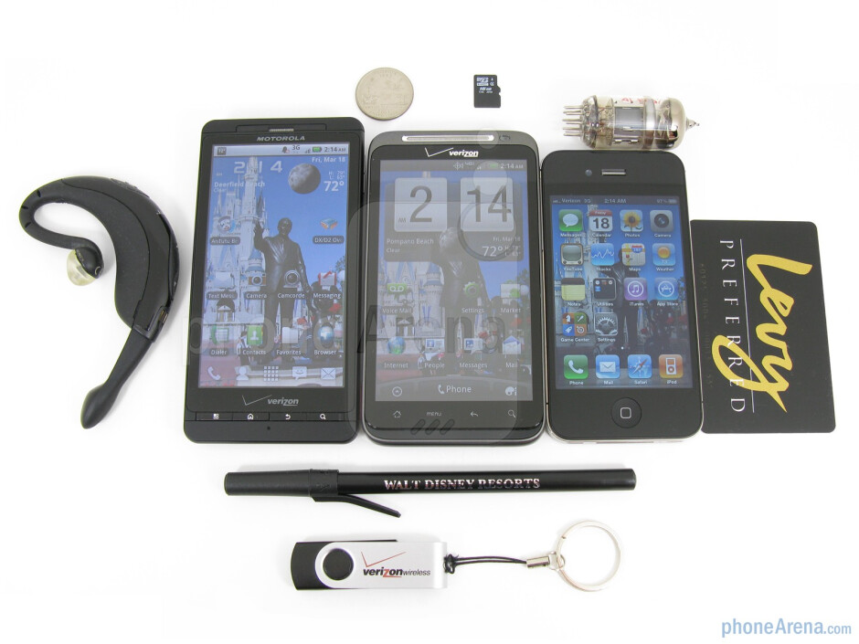 The Motorola DROID X (Left), the HTC ThunderBolt (Middle) and the Apple iPhone 4 (Right)  - HTC ThunderBolt Review