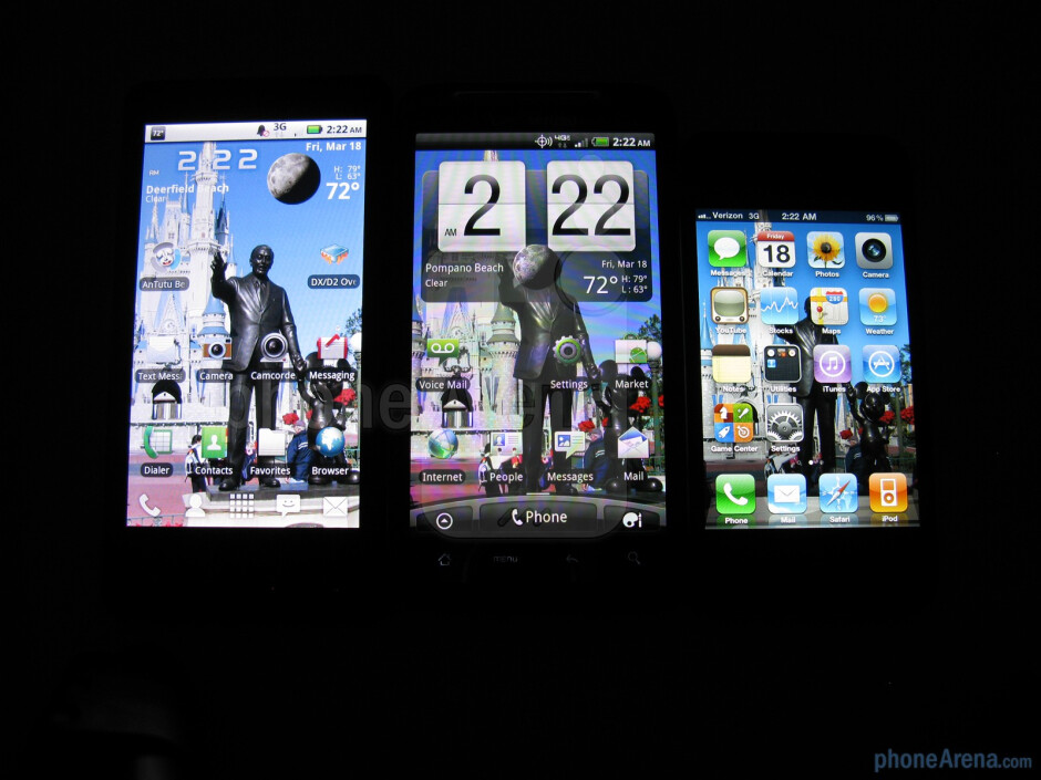 HTC ThunderBolt in the middle, DROID X to the left, and iPhone 4 to the right - HTC ThunderBolt Review