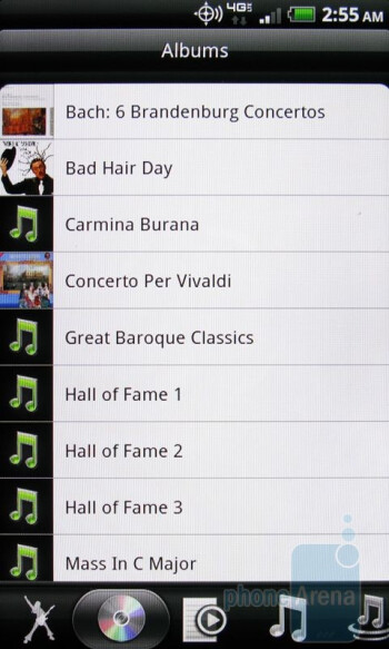 The HTC Music Player - HTC ThunderBolt vs Apple iPhone 4