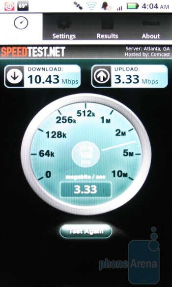 Using 4G data with the DROID X, courtesy of HTC ThunderBolt's Mobile HotSopt - HTC ThunderBolt Review