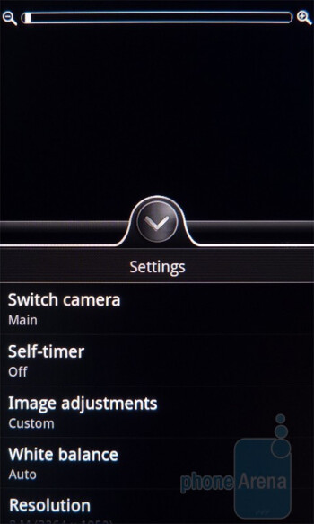 Camera interface - HTC Incredible S Review