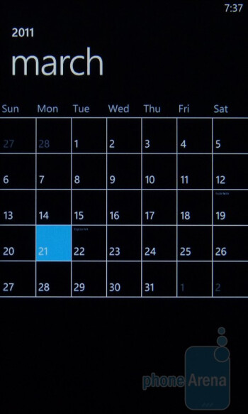 The calendar - HTC Arrive Review