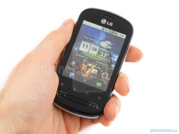 The LG Optimus Me P350 is actually pretty heavy for such a tiny handset - LG Optimus Me P350 Review