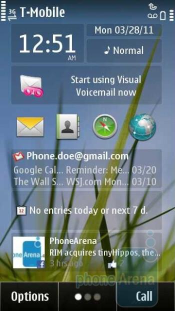 The Symbian^3 interface of the Nokia Astound - Nokia Astound Review