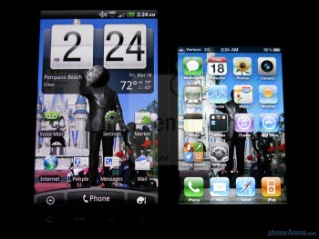 The displays of the HTC ThunderBolt (L) and the Apple iPhone 4 (R) - HTC ThunderBolt vs Apple iPhone 4