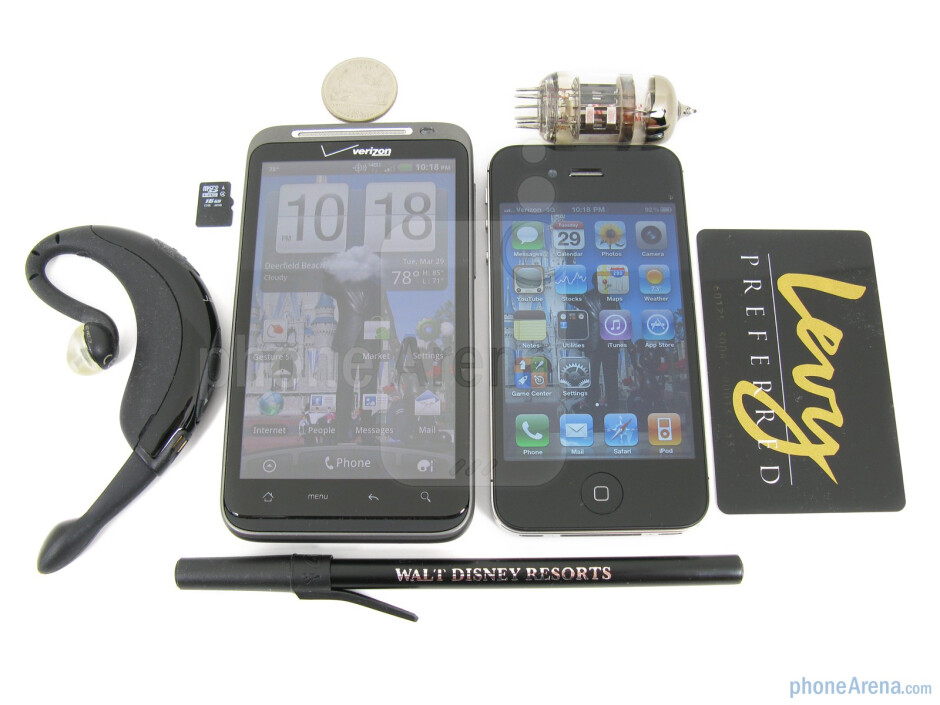 The HTC ThunderBolt (left, down) and the Apple iPhone 4 (right, up) - HTC ThunderBolt vs Apple iPhone 4