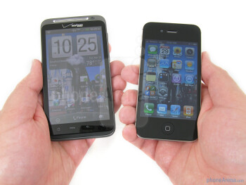 The HTC ThunderBolt (L) and the Apple iPhone 4 (R) - HTC ThunderBolt vs Apple iPhone 4