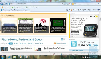 Surfing the web with Internet Exlorer - ViewSonic ViewPad 10 Review