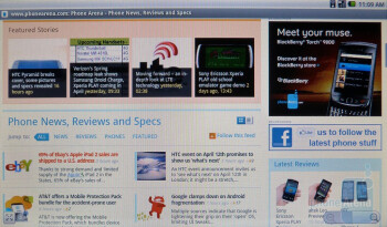 The Android browser in ViewSonic ViewPad 10 - ViewSonic ViewPad 10 Review