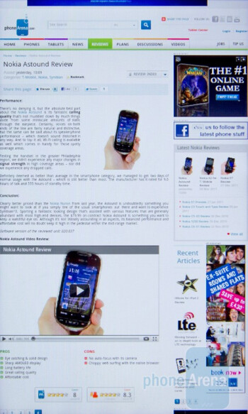 Web surfing - HTC Desire S Review