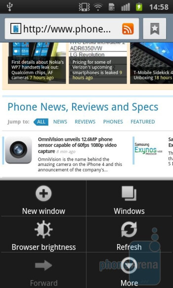 The browser of the Samsung Galaxy S II - Samsung Galaxy S II Preview