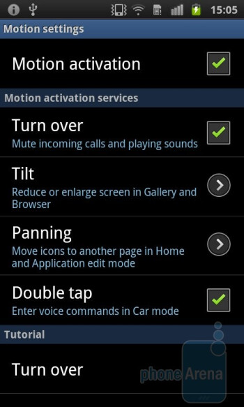 Motion settings - Samsung Galaxy S II Preview