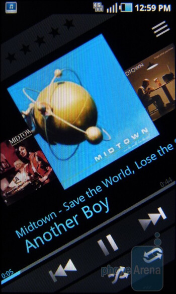 Interface of the music player - T-Mobile Sidekick 4G Review