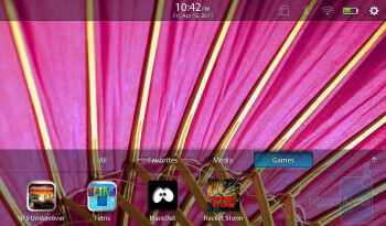 The apps panel has four app categories - RIM BlackBerry PlayBook Review