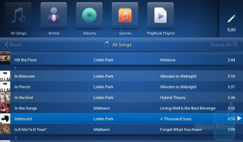 The music player of the RIM BlackBerry PlayBook - RIM BlackBerry PlayBook Review