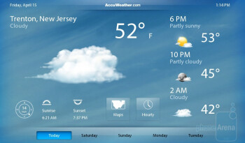 Weather app - The clock app only provides a basic alarm clock, stopwatch, and timer - RIM BlackBerry PlayBook Review