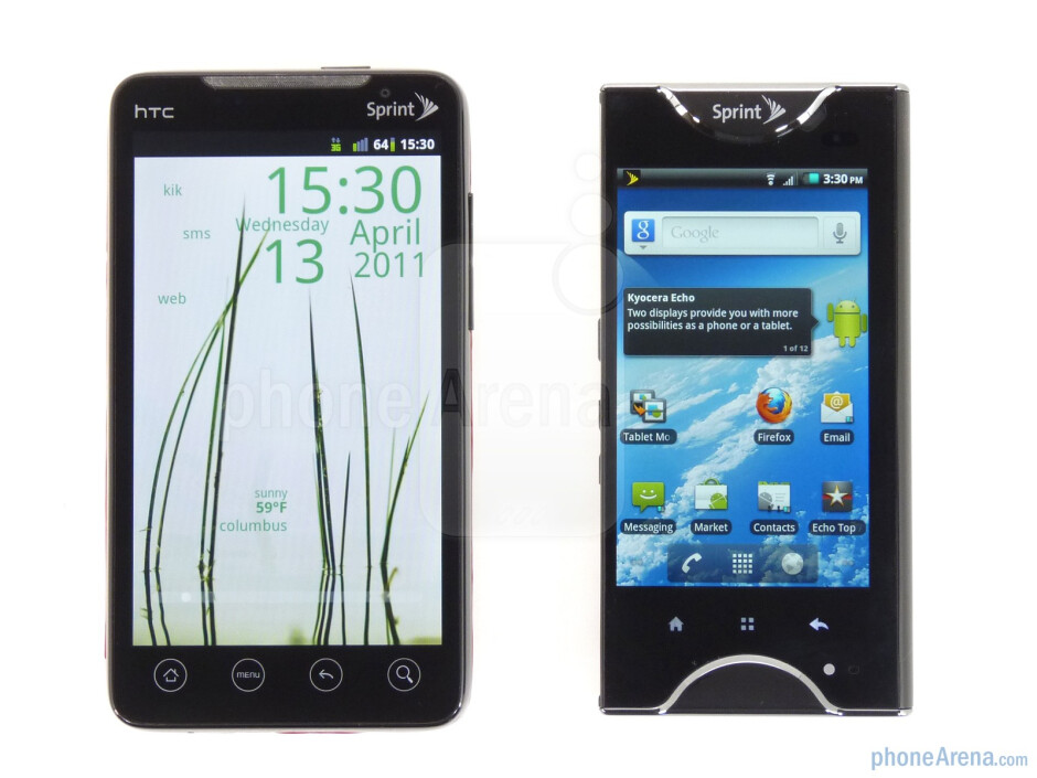 The HTC EVO 4G (left) and the Kyocera Echo (right) - Kyocera Echo Review