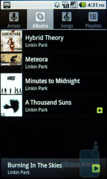 The T-Mobile G2x uses the tried and true stock Android music player - T-Mobile G2x Review