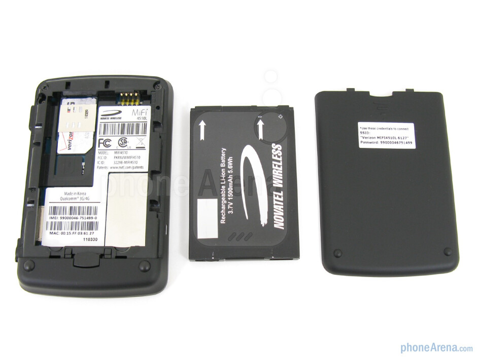 The front and back sides of the Novatel 4510L 4G MiFi - Novatel 4510L 4G MiFi for Verizon Wireless Review