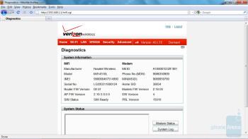 Settings page - Novatel 4510L 4G MiFi for Verizon Wireless Review